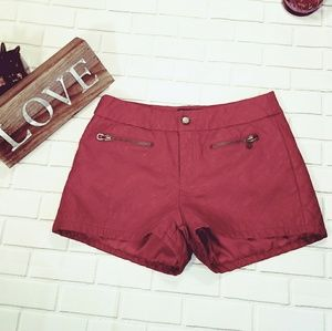 ☀3/$45 vegan Quilted Leather Shorts in Deep Red